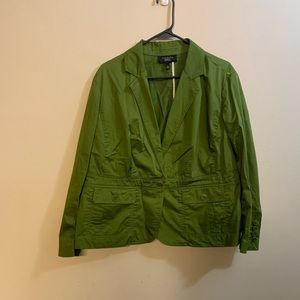 Talbots dark green cotton blazer